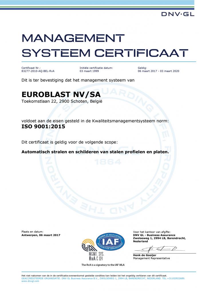 Signed E-cert Euroblast 9001 NL RC 2016